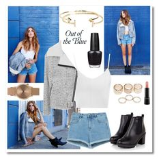 """""""Out of the Blue"""" by neha16100 ❤ liked on Polyvore featuring Zara, Glamorous, Topshop, Wet Seal, Aéropostale, MAC Cosmetics and OPI"""