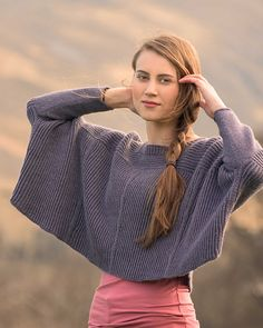 A worsted weight, cropped sweater knitting pattern. Armathwaite by cecilia floor knit in The Fibre Co. Cumbria