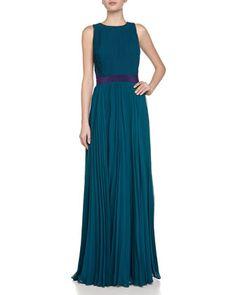 Sunburst Pleated Chiffon Gown by Halston Heritage at Neiman Marcus.