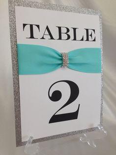 Tiffany Blue & Silver Rhinestone  Glitter Wedding Table by ELDNYC