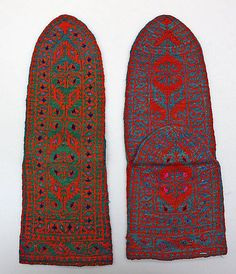 Socks Date: 19th century Culture: Iranian Medium: wool Dimensions: Length: 9 1/2 in. (24.1 cm) Credit Line: Gift of Miss Irene Lewisohn and Mrs. Alice Lewisohn Crowley, 1946 Accession Number: C.I.46.9.273a, b - So pretty. Intense colorwork continues into afterthought heel. Underside of heel is probably just as lovely.