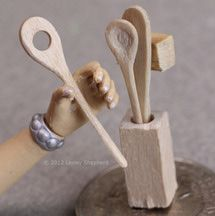 How to carve a  traditional set of wooden kitchen tools in miniature from scraps of craft wood.
