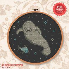 Manatee and fishy friend PDF cross stitch pattern by Richearts