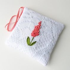 Custom Made Lace Lavender Sachet With Orange Flowers Hand Embroidered Silk Ribbon Embroidery