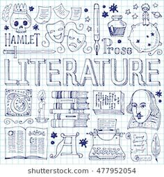 Literature hand drawn vector illustration with doodle icons, images and objects, isolated on exercise book sheet; compre este vectores en stock en Shutterstock y encuentre otras imágenes. Bullet Journal School, Bullet Journal Notes, Doodle Icon, Doodle Art, Project Cover Page, Banner Doodle, School Binder Covers, Science Doodles, Doodle Characters