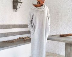 Otoño invierno Maxi asimétrico de punto Kaftan vestido