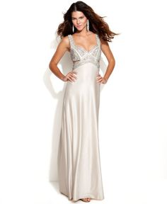 Betsy & Adam Sleeveless Embellished Cutout Gown in White (Pearl)