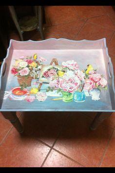 Rose & Tea decoupage Tray
