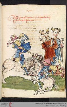 Cod. Pal. germ. 339  Wolfram von Eschenbach  Parzival (Band 1)   Hagenau - Werkstatt Diebold Lauber, um 1443-1446 Seite: 131r Parzival besiegt in einem Turnier am Hof von Gurnemanz einen Ritter