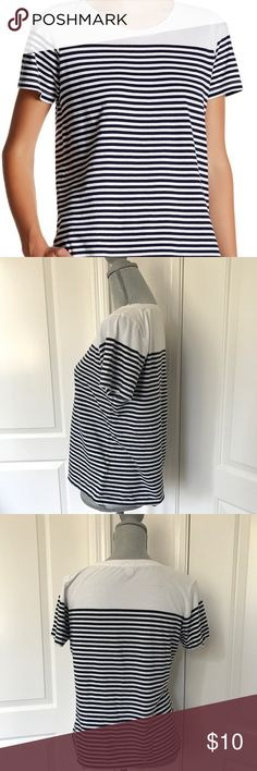 "J. CREW Drop Stripe Tee J. Crew drop stripe short sleeve t-shirt in white and navy blue. Scoop neckline and 100% cotton. Fits true to size and approx length: 38.5"" J. Crew Tops Tees - Short Sleeve"