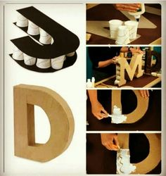 DIY letters for any party occasion. Diy And Crafts, Arts And Crafts, Paper Crafts, Fall Crafts, Bead Crafts, Halloween Crafts, Christmas Crafts, Diy Letters, Cardboard Letters