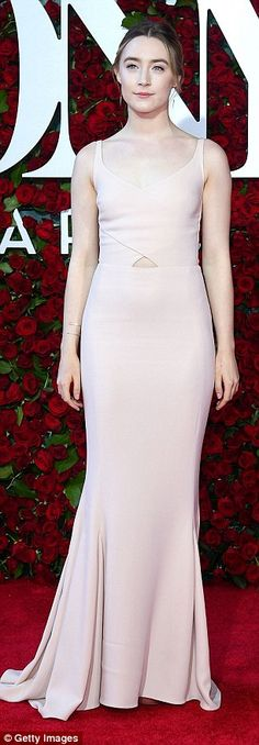 Beautiful: Saoirse's flattering dress featured an elegant fishtail hem and clung to every ...
