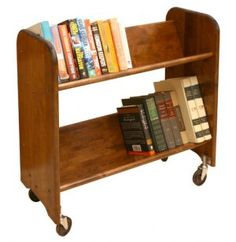 Wood Book Cart - 2 Tilted Shelves in Walnut - These Wood Book Carts are ideal for schools, libraries, or offices where large quantities of books must be moved quickly and easily. Library Cart, Library Books, Home Library Decor, Children's Books, Comic Books, Vintage Library, Vintage Books, Antique Books, Book Racks