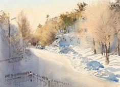 Stanislaw Zoladz Vinter morgon 27 x 37 cm