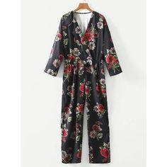 4274710943 SheIn(sheinside) Drawstring Waist Surplice Floral Jumpsuit (44 BAM) via  Polyvore featuring jumpsuits, multicolor, multi colored jumpsuit, sleeve  jumpsuit, ...