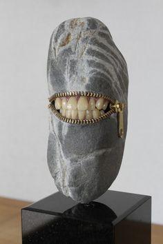 "Hirotoshi Ito, ""Laughing Stone"", Sculpture, Natural stone, Zipper & Dentures, Japan, 2011"