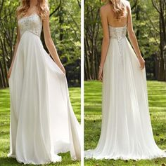 White / ivory beaded chiffon wedding dress bridal dress formal evening dress