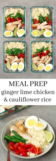 Ginger Lime Chicken Cauliflower Rice Meal Prep via @realfoodrecipes--i would use coconut aminos instead of soy sauce