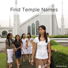 Family History Simple Start: Find Temple Names