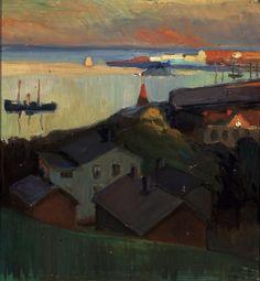"huariqueje: "" City - Yrjö Aleksander Ollila , 1906 Finnish, 1887–1932 Oil on panel , 44 x 40 cm. (17.3 x 15.7 in.) """