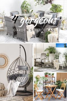 Schauen Sie sich unsere Ideen für den Gartenstil an! Hast du einen rustikalen Garten? Oder magst du vielleicht modernen Stil? Garden Styles, Hanging Chair, Designer, Modern, Throw Pillows, Furniture, Home Decor, Be Creative, Rusty Garden