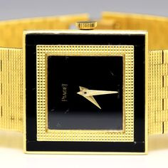 "Piaget Dress Watch 18kt Yellow Gold & Black Onyx 7.5"" Quartz Double Bezel"