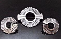 GEORG JENSEN Sterling Silver ART DECO Pin Brooch Earrings #310, 92 Jorgen Jensen