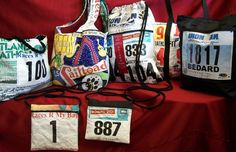 Recycle and reuse...make your own recyclable bag out of your old race numbers or T-shirts