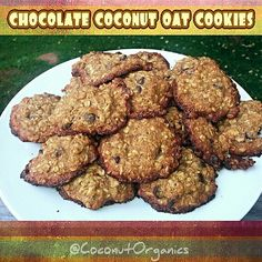 Mmmmm.. organic #glutenfree chocolate chip #coconut oat cookies!  Hearty and delicious.. quite the guilt-free treat. Used cassava flour, #organic chocolate chips, rolled oats, lots of extra virgin #coconutoil and lightly sweetened with #coconutsugar. Just crispy enough on the outside with a nice moist consistency on the inside. Just right. YUM!
