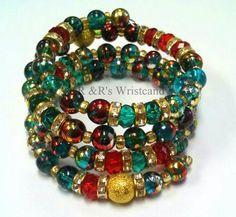 Festive Beaded Coil Bracelet by RandRsWristCandy on Etsy, $12.00