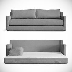 The Flip Sofabed from Gus Modern converts from a modern sofa to Queen bed with a quick flip of the seat cushion.
