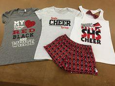 Soda Springs H.S Camp Gear #nycecheer Cheer Practice Outfits, Cheer Outfits, Cheerleading Outfits, Sport Outfits, Cheer Shirts, Team Shirts, Vinyl Shirts, Varsity Cheer, Football Cheer