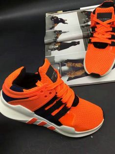 purchase cheap 96109 5ed79 Pas cher chaussures de course May 2017 Adidas EQT running support 93  Primeknit Total Orange Black White