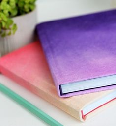 42. DIY #Ombre Maybe dip dye fabric and attach it to the book