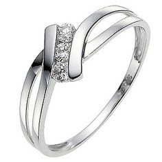 9ct white gold ring featuring three stone cubic zirconia ring. A modern design that's ideal for everyday style.