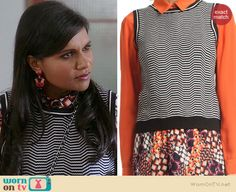 Mindy's striped shell top on The Mindy Project.  Outfit Details: http://wornontv.net/38333/ #TheMindyProject