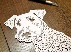 Airedale Terrier papercutting by Paper Petal
