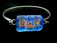 Fused Dichroic Glass Sterling Silver Bracelet by Chris1 on Etsy, $65.00