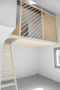 Mezzanine bed – made to measure – to save space at home Mezzanine Bedroom, Bedroom Loft, Kids Bedroom, Bedroom Decor, Bohemian Living Rooms, Attic Bedrooms, Tiny Apartments, Kids Room Design, My New Room