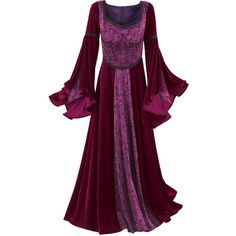 Taffeta & Velvet Dress - New Age & Spiritual Gifts at Pyramid... ($100) ❤ liked on Polyvore featuring dresses, medieval, costumes, medieval dresses and gowns