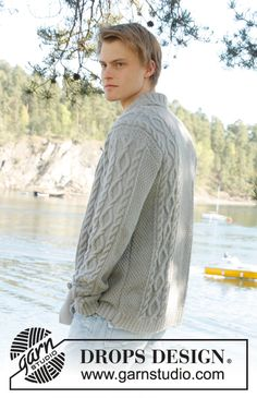 "Knitted DROPS men's jacket with cable pattern and shawl collar in ""Lima"". Size: S - XXXL. ~ DROPS Design"