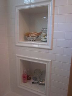 6 Eager ideas: Garden Tub To Shower Remodel walk in shower remodeling on a budget.Tiny Shower Remodel stand up shower remodeling walk in.Shower Remodel With Window Glass Blocks. Laundry In Bathroom, Traditional Bathroom, House Bathroom, Home, Built In Shelves, Built In Shower Shelf, Framed Shower, Shower Shelves, Bathroom Design