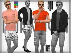 c6f91258e5800 DarkNighTt's Cotton T-Shirt Swim Shorts, The Sims, Male Clothing, Sims 4