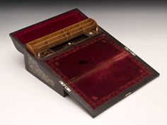 Coromandel Writing Box by John Turrill The interior is veneered in birdseye maple, has a secret compartment, fretted stationery compartment, inlaid coromandel pen tray, crown top inkwell and Coombs leather match striker.