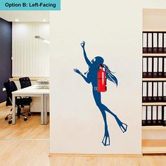 Girl Scuba Diver wall decal which can be combined with a fire