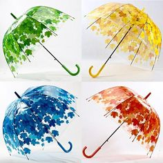 4 Colors Leaves Cage Umbrella Transparent Rainny Sunny Umbrella Parasol Cute Umbrella Women Cute Clear Paraguas Free Shipping