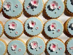 Cherry blossom fondant sugar cookies