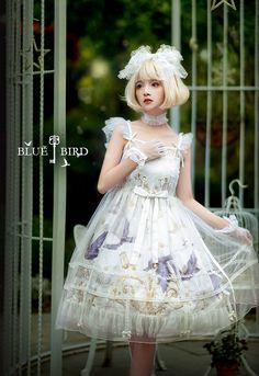 R-series -Blue Bird- Vintage Classic Lolita JSK (Normal Version) Grunge Style, Soft Grunge, Pastel Grunge, Tokyo Street Fashion, Japanese Street Fashion, Quirky Fashion, Lolita Fashion, Le Happy, Grunge Outfits