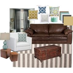 Living room? brown leather. blues, grays, and yellows.