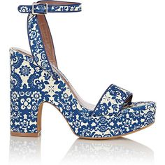 Tabitha Simmons Women's Paisley-Print Calla Platform Sandals ($299) ❤ liked on Polyvore featuring shoes, sandals, blue, heels, ankle strap high heel sandals, leather sandals, leather ankle strap sandals, ankle strap sandals and high heel sandals